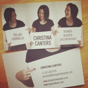 Christina Canters business cards design draw speak